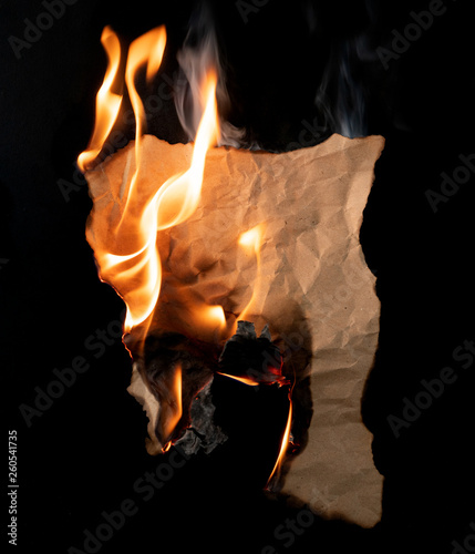 .burning piece of crumpled paper Fototapet