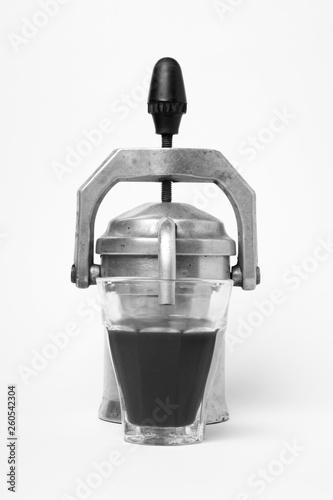 Fotografie, Obraz  Metallic old coffee machine isolated