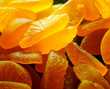different bright colorful pieces candied fruit jelly (marmalade) closeup.abstract sweets background for your design.macro shoot.shallow depth of field.