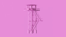Pink Tall Watch Tower With Sta...