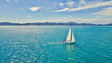 Yacht Sailing Into Distance, Drone