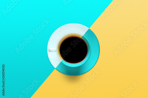 cup of coffee on a background of turquoise color Wallpaper Mural