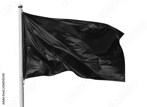 Fotografie, Obraz  Black flag waving in the wind on flagpole, isolated on white background, closeup