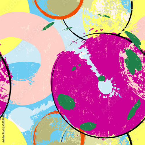 seamless background pattern, with circles, strokes and splashes