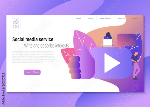 Social media service vector illustration concept, group of people