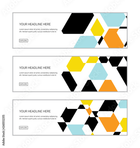 Web Banner Design Template Set Consisting Of Abstract