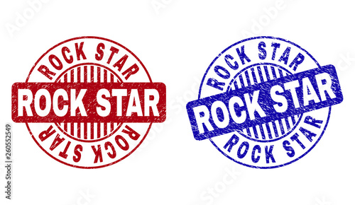 Grunge ROCK STAR round stamp seals isolated on a white