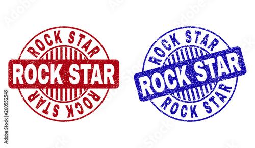 Valokuvatapetti Grunge ROCK STAR round stamp seals isolated on a white background