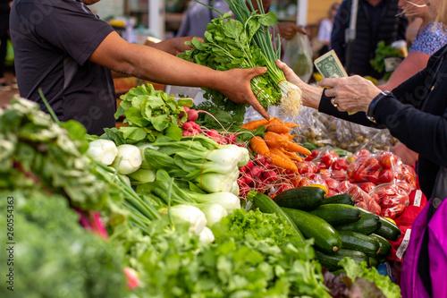 People buying fresh organic vegetables from local farmers in the city bazaar Slika na platnu