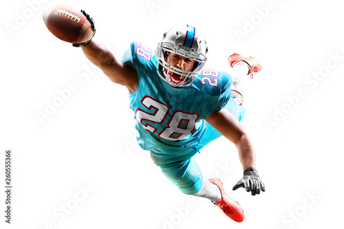 Fotografija one american football player man studio isolated on white background