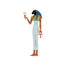Maat, Goddess Of Justice, Symbol Of Ancient Egyptian Culture Vector Illustration