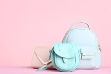 Fashion Handbag And Backpack On Pink Background