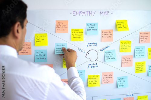 Fotografia Male business man sticking post it in empathy map, user experience (ux) methodology and design thinking technique, a collaborative tool to gain insight into customers, users and clients