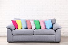 Colorful Soft Pillows On Grey ...
