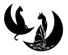 Elegant Cat Sitting On A Crescent Moon - Night Time Black And White Vector Symbol