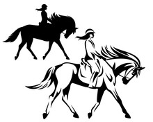 Woman Riding Horse During Dressage Competition - Equestrian Sport Black And White Vector Outline And Silhouette