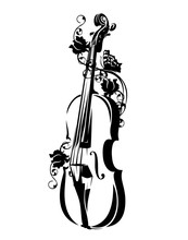 Violin With Rose Flowers And B...
