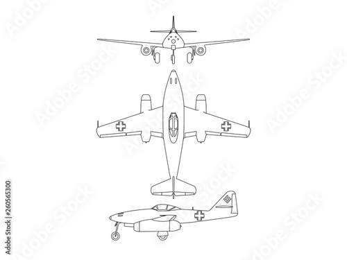 World war 2 airplane illustration vector Fotobehang