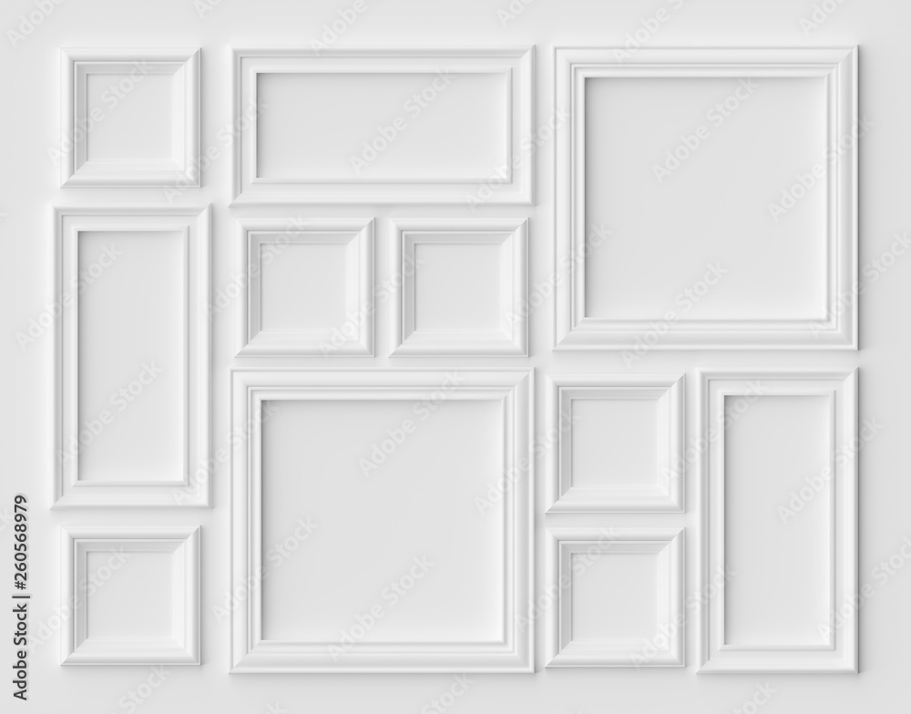 Fototapety, obrazy: White picture or photo frames on the white wall with shadows