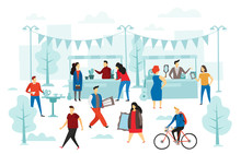Second Hand Shop. Flea Market, Street Shop Trading Stalls And Fashion Clothes Swap. People Selling Cloth Flat Vector Illustration