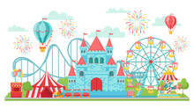 Amusement Park. Roller Coaster, Festival Carousel And Ferris Wheel Attractions Isolated Vector Illustration