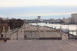 Gate from embankment to Gorky Park Moscow in spring day