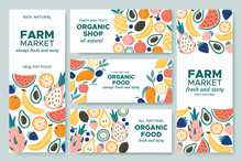 Fruit Banner. Summer Fruits, Organic Food Menu And Fresh Pineapple Banners Vector Illustration Set