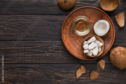 Foto op Canvas Spa Coconut products over wooden background