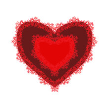 Red Lacy Heart For Valentines Day. Vector Illustration On Isolated Background.