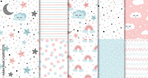 Fotografia, Obraz Set of sweet pink seamless pattern Sleeping cloud moon stars background collecti