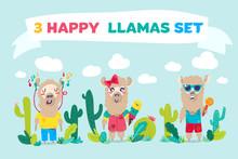 Happy Llamas Cartoon Characters Set