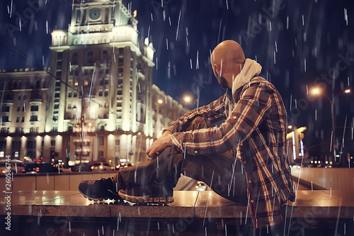 night rain city lights man, concept of loneliness, sad
