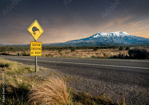 Kiwi crossing sign at night next to snowy Mount Ruapehu in New Zealand's Tongariro national park Canvas Print