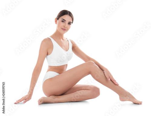 Young woman with perfect skin on white background Tapéta, Fotótapéta