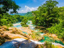 Panoramic View Of Agua Azul Wa...