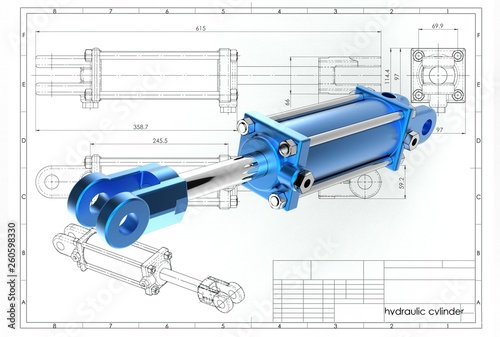 Cuadros en Lienzo 3d illustration of hydraulic cylinder above technical engineering drawing