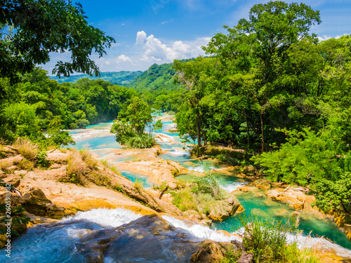 Panoramic view of Agua Azul waterfalls in the lush rainforest of Chiapas, Mexico Canvas Print