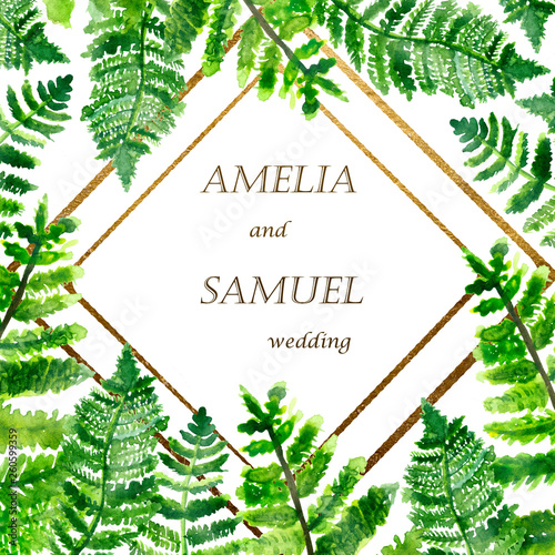 Watercolor Hand Painted Floral Wedding Frame With Names Of The Couple Nature Theme With Tropical Leaves And Gold Lines Invitation Buy This Stock Illustration And Explore Similar Illustrations At Adobe Stock Download the perfect tropical leaves pictures. watercolor hand painted floral wedding