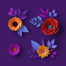 3d Colorful Neon Paper Flowers Wallpaper, Botanical Background, Red Poppy, Pink Dahlia, Spring Summer Clip Art, Floral Design Elements