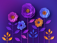 3d Colorful Neon Paper Flowers...