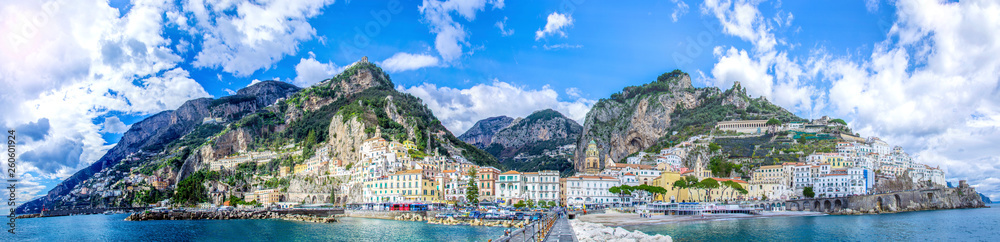 Fototapety, obrazy: Panoramic view of the town of Amalfi on coast in Italy