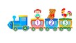 Toys, doll, bear, cock riding a toy train, vector