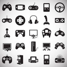 Gaming Icons Set On White Back...