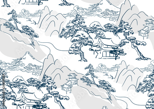 chinese lanscape japanese vector pattern oriental mountais seamless Wallpaper Mural