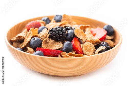 Fotografía Fiocchi di cereali integrali e frutta fresca