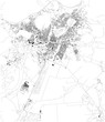 Satellite map of Podgorica, the capital and largest city of Montenegro. City streets of the town center