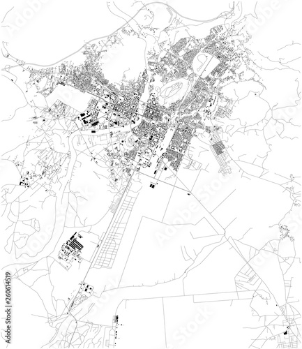 Satellite map of Podgorica, the capital and largest city of Montenegro Wallpaper Mural
