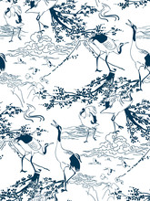 Cranes Japanese Pines Vector Pattern Traditional Oriental