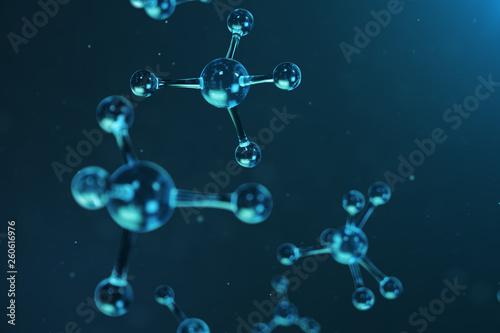 Fotografie, Tablou  3D illustration molecule structure