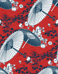 Fototapeta Japoński japanese traditional vector illustration sakura umbrella pattern red